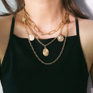 Jewelry - Gloden/Sliver Layered Coin Necklace